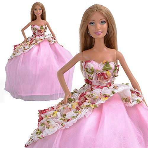 Handmade Flower Princess Dress Party Clothes Wedding Gown For Barbie Doll