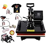 "SUNCOO 8 in 1 Heat Press Machine Professional Digital Transfer Sublimation Hot Pressing Machine- Swing Away,Multifunction T-Shirt/Mug/Hat Plate/Cap Press,15x15"" Combo Kit"