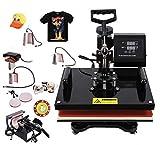 "SUNCOO 8 in 1 Heat Press Machine Professional Digital Transfer Sublimation Hot Pressing Machine- Swing Away,Multifunction T-Shirt/Mug/Hat Plate/Cap Press,15x15"" Combo Kit"