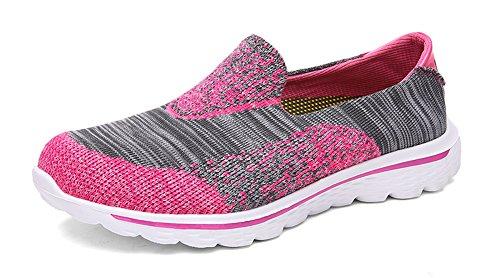 Ausom Heren Dames Mesh Atletische Running Sneaker Instappers Modeliefhebbers Wandelschoenen Rose Rood / Grijs