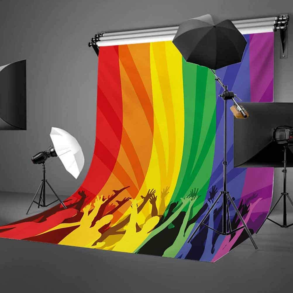 Pride 10x12 FT Photo Backdrops,People Celebrating International Day for LGBT Community with Colorful Striped Design Background for Photography Kids Adult Photo Booth Video Shoot Vinyl Studio Props