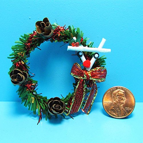 Christmas Wreath Reindeer (Dollhouse Miniature Christmas Wreath with Reindeer Decor SCR - My Mini Fairy Garden Dollhouse Accessories for Outdoor or House Decor)