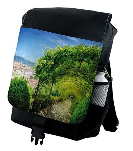 (Lunarable Modern Backpack, Big Small Squares Tile, Durable All-Purpose Bag)