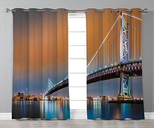For sale Thermal Insulated Blackout Grommet Window Curtains,Apartment Decor,Ben Franklin Bridge and Philadelphia Skyline Viewed from Camden