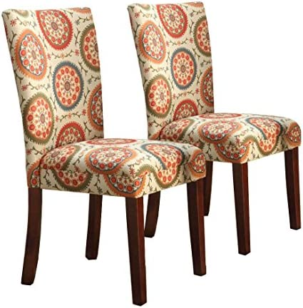 picture of HomePop Parsons Upholstered Accent Dining Chair, Set of 2, Orange