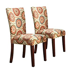 picture of HomePop Parsons Upholstered Accent Dining Chair, Set of 2, Orange Suzani