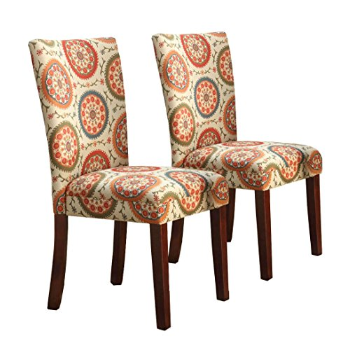HomePop Parsons Upholstered Accent Dining Chair, Set of 2, Orange Suzani