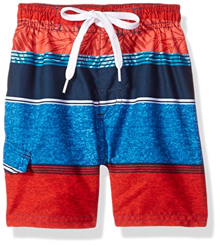 Kanu Surf Toddler Boys' Jetstream Quick Dry Beach Swim Trunk, Fusion Navy/Red, 2T