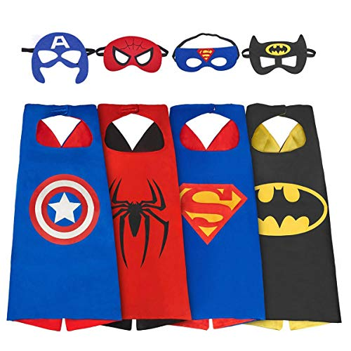 PAWACA Superhero Costume for Boys, 4 Sets Superhero Dress Up Costumes for Kids, Capes and Mask Costumes (3-8 Boy Costumes) ()