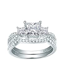 Newshe Three Stone Princess White AAA Cz 925 Sterling Silver Engagement Wedding Ring Set Size 5-10