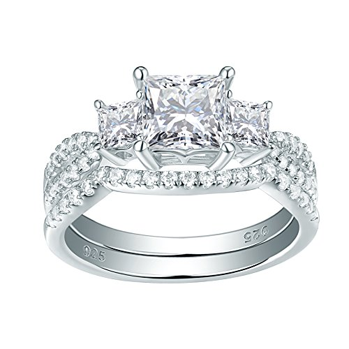 Newshe Jewellery Three Stone Cz Wedding Rings for Women Engagement Set Sterling Silver Princess Size 9 - 3 Stone Jewelry