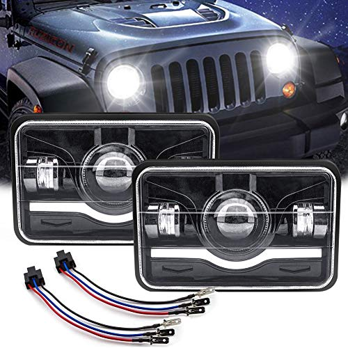 - 5X7 LED Headlight Square SAFEGO 2Pcs Sealed Beam 150W 15000Lm Hi/Low w/H4 Wiring Harness Headlamp Projector for Jeep Wrangler Cherokee YJ XJ MJ Comanche Toyota Nissan 240SX Offroad Headlamp