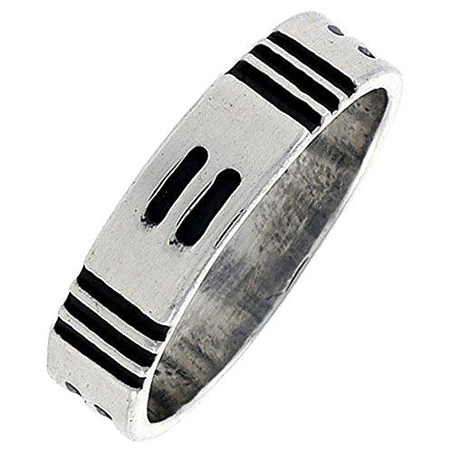 Sterling Silver Native American Hopi Pattern Ring Southwestern Design Handmade 1/4 inch wide, size 7