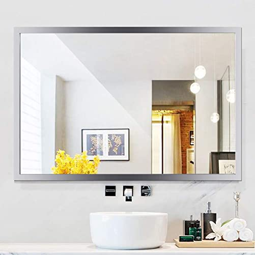 WATERJOY Large Rectangular Bathroom Wall Mirror, Stainless Steel Frameless Vanity Glass Make-up Mirror, Decors Mirror 36 x 24