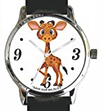 """""""Save Our Wildlife"""" Large Polished Chrome Watch with Black Strap has a """"Giraffe"""" image and Donation to African Wildlife Foundation"""