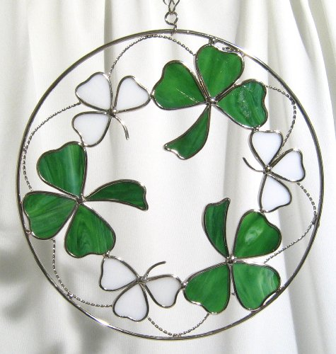 Stained Glass Shamrocks - 8 Inches Round (Shamrock Window)