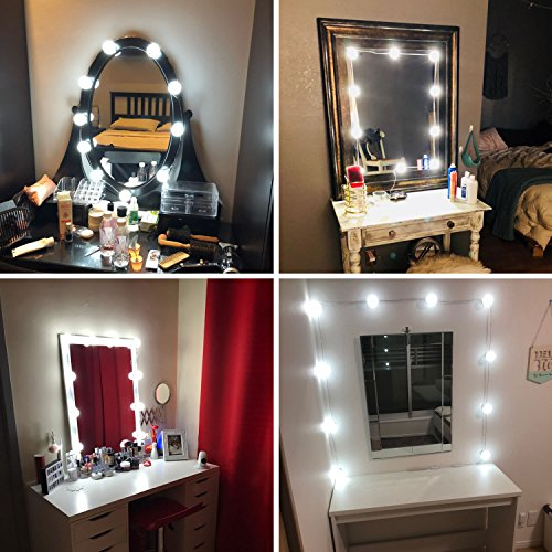 Lvyinyin Vanity Lights Kit Hollywood Style Makeup Light Bulbs with Stickers Attached to Bathroom Wall Or Dressing Table Mirrors, with Dimmable Switch and Power Plug, Daylight, Mirror Not Included by Lvyinyin (Image #4)