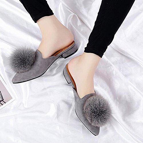 Hyl Monde Womens Pom Pom Pantoufle Plate Bout Pointu Diapositives Mules Gris