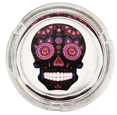 Day of the Dead Sugar Skull Colorful Glass Ashtrays - Assorted Colors (Black)