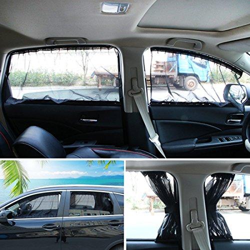 Andux Land Car Window Shade Curtain Sunshade UV Protection PBCL-01 (2pcs/Set) (50L, Black ()