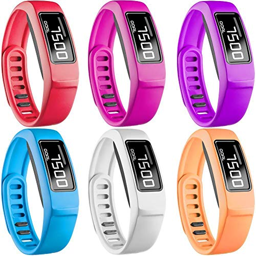 SKYLET Compatible with Garmin Vivofit 2 Bands, Soft Silicone Replacement Bands for Vivofit 2 Wristband Bracelet with Buckle Small Large Kids Men Women (NOT for Garmin Vivofit 1, No Tracker) 2 Pack Team Wristband