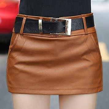 XiaoGao Falda de Cuero de la PU de Shorts,XL marrón: Amazon.es ...