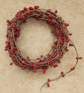Red Single Pip Berry Garland Country Primitive Floral Craft Chirstmas (Red Garland Berry Christmas)