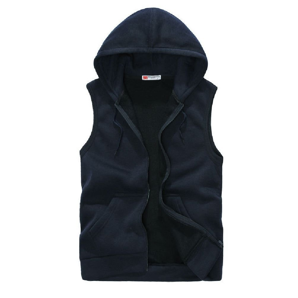 Jewelryfinds Plus Size Men Casual Slim Sleeveless Hooded Gym Hoodies Vest Coat Waistcoat Tops