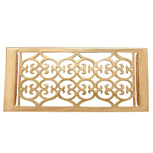 Adonai Hardware Flower Brass Wall and Floor Register with Louver - 6
