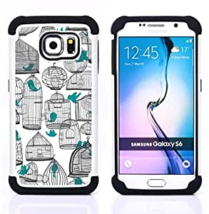 - deep white pen art teal meaning/ H??brido 3in1 Deluxe Impreso duro Soft Alto Impacto caja de la armadura Defender - SHIMIN CAO - For Samsung Galaxy S6 G9200