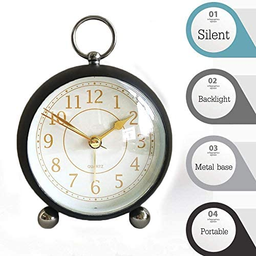 Maxspace 4 Inch Table Clock, Silent Desk Shelf Alarm Clock,Non Ticking Quartz Movement Battery Operated Small Clock for Office, Bedroom, Living Room, Kitchen School Decoration Black