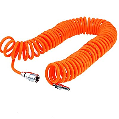 uxcell 9 Meters Length 8mm x 5mm Polyurethane Coiled Air Hose Tube Orange