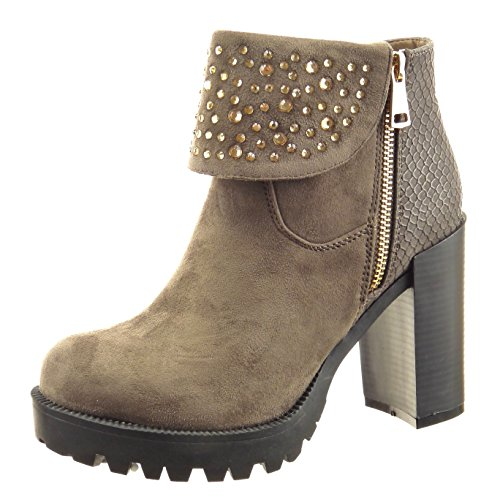 Sopily - Scarpe da Moda Stivaletti - Scarponcini zeppe alla caviglia donna pelle di serpente strass Tacco a blocco tacco alto 10 CM - Taupe