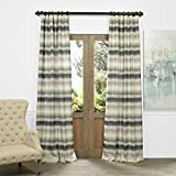 HPD HALF PRICE DRAPES JQCH-AS222554-108 Horizontal Stripe Faux Silk Jacquard Curtain, Surge Grey Ivory, 50″ x 108″ For Sale