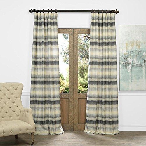 HPD HALF PRICE DRAPES JQCH-AS222554-96 Horizontal Stripe Faux Silk Jacquard Curtain, Surge Grey Ivory, 50″ x 96″ For Sale