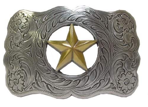 Antique Sterling Silver Finish Gold Ranger Star Belt Buckle (Ranger Floral Belt)