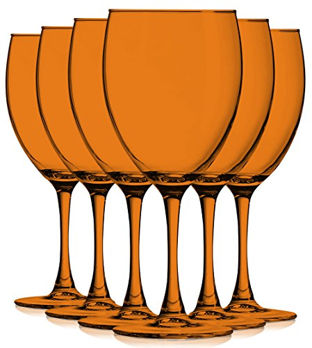 Orange Colored Nuance Wine Glassware - 10 oz. set of 6- Additional Vibrant Colors Available by TableTop King ()
