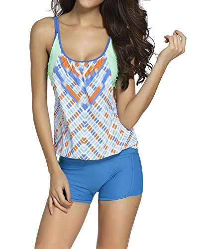 Spring fever Casual Sporty Stripes lined Double Up Tankini Top Bikini Swimsuit Green S(US 2-4)