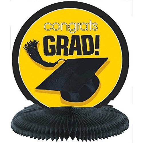 Amscan Congrats Grad Graduation Party School Colors Honeycomb Centerpiece Decoration (Pack Of 1), Yellow, 10