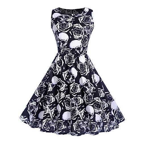 TOTOD Dress for Women, Fashion Womens Halloween O-Neck Skull Floral Print Vintage Evening Hepburn Party Dress (D- Black, Medium)