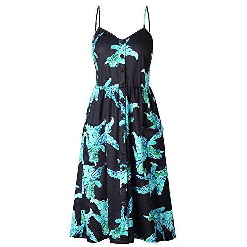 QZUnique Women's Summer Dress V Neck Retro Strappy Backless Overknee Long Dress Waisted Buttoned up Dress Leaves Printed Black US XXL