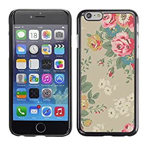Paccase / Hard Protective Case Cover for - Roses Vintage Beige Pink - Apple Iphone 6 Plus 5.5