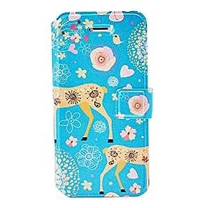 WQQ moda sika ciervos florales patrón estuche de cuero con soporte y ranuras para tarjetas de 5/5s iphone