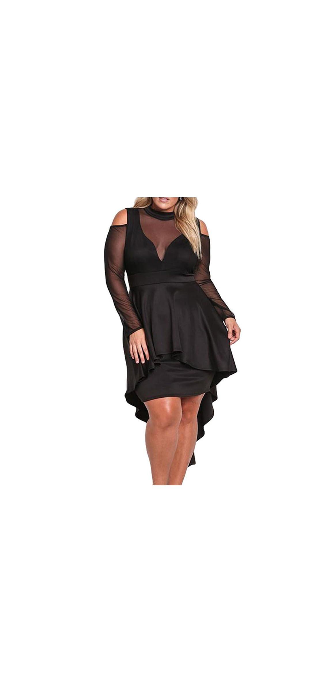 Women's Sexy Sheer Mesh Evening Gowns Plus Size Peplum
