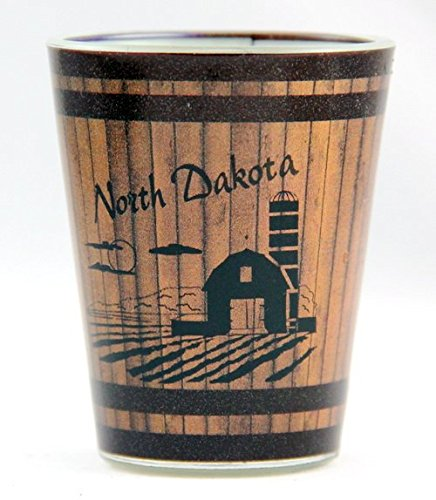 North Dakota Farm Wood Grain Shot Glass