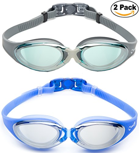 Ccloud 9 - 2 Pack Adjustable Strap Adult Unisex Anti-Fog UV Protection Full Frame Professional Swimming - Goggles Cloud Sunglasses