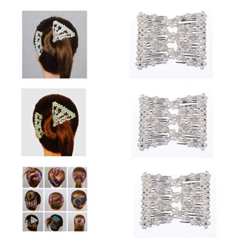 Lovef 3 Pcs Fashion Exquisite Beaded Easy Stretchable Combs Flower Pearl Double Hair Combs Magic Crystal Double Clips Insert Combs for Lady Women Girls