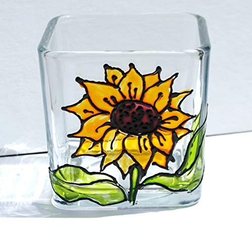 Yellow Sunflower Hand Painted Stained Glass Square Candle Holder (Candle Sunflower Holder)