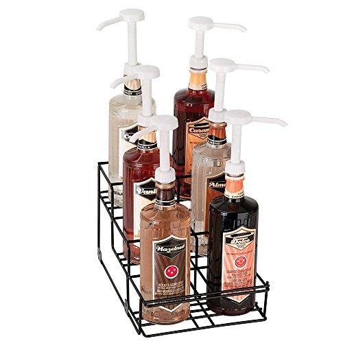 Dispense-rite WRBOTL6 Bottle Organizer, Wire Rack, 6 Section, Reinforced Welded, Black