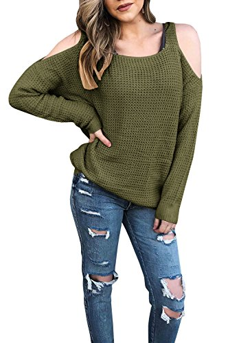 Niitawm Women's Cold Shoulder Sweaters Long Sleeve Knit Loose Fit Sexy Pullover Sweater (L,Army Green) from Niitawm